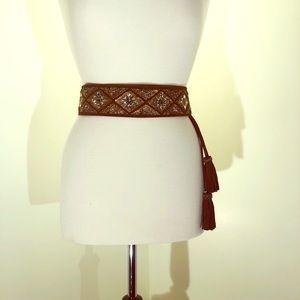 Chico's beaded suede belt; side Tassel; new; sizeM